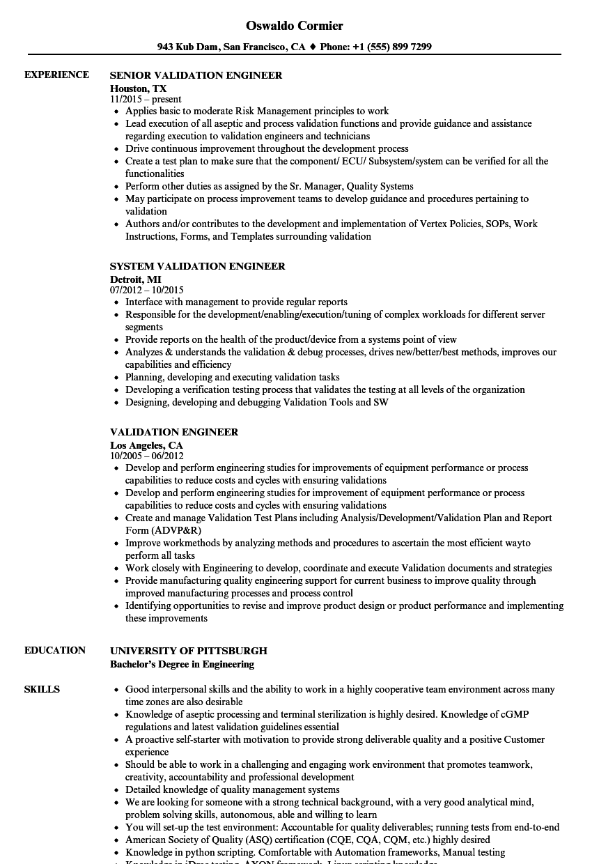 validation engineer resume samples