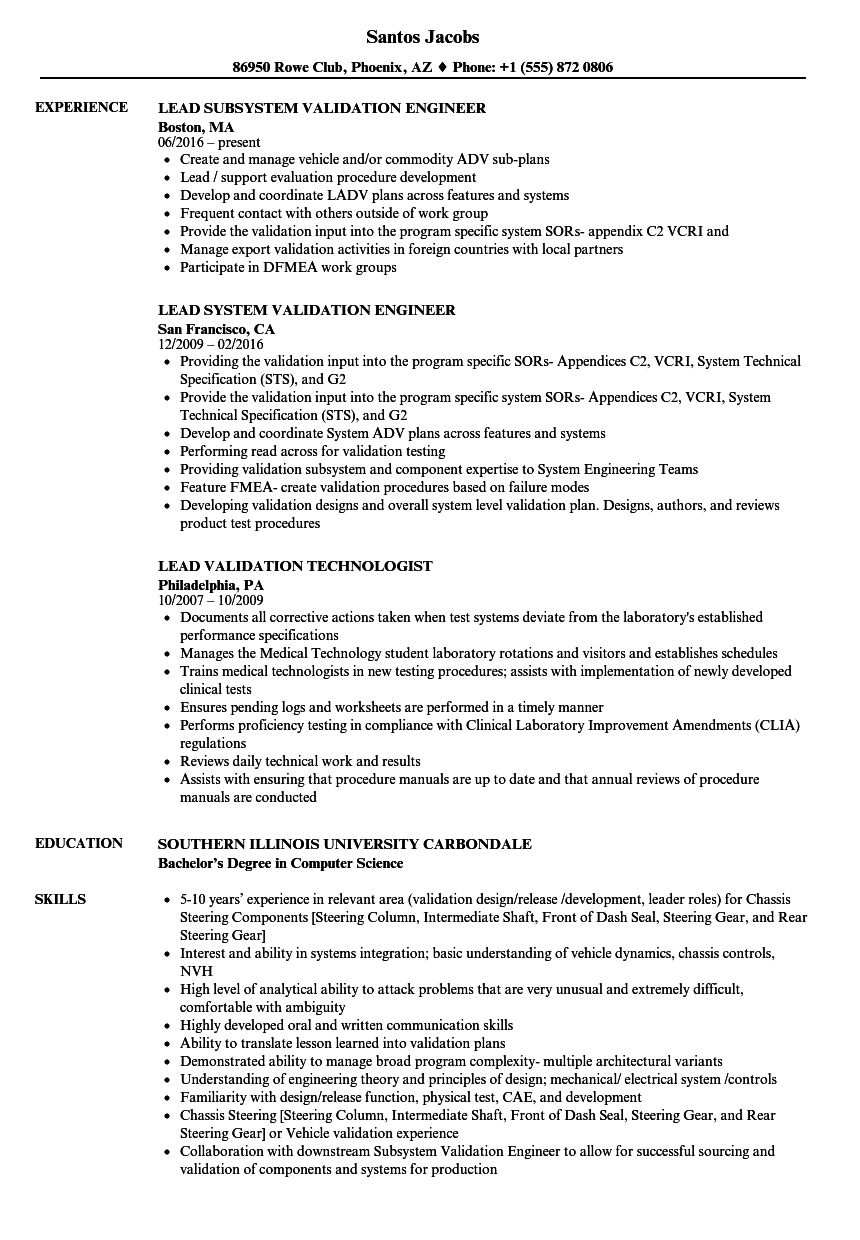 validation lead resume samples