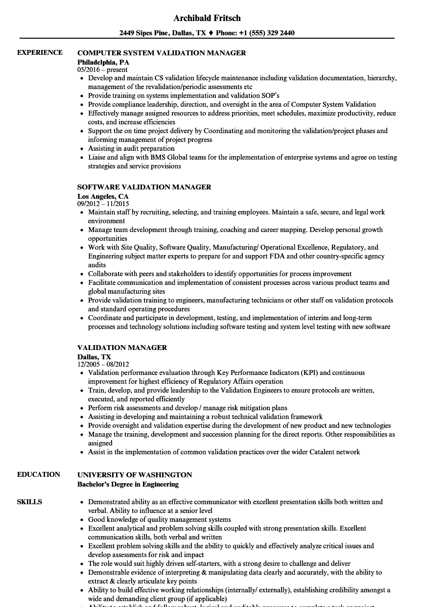 Validation Manager Resume Samples | Velvet Jobs