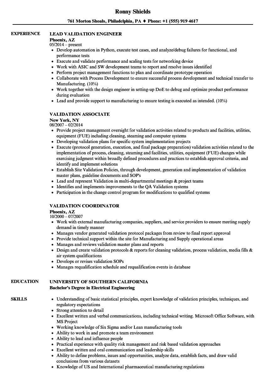 Validation Resume Samples | Velvet Jobs