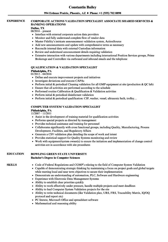 Validation Specialist Resume Samples | Velvet Jobs