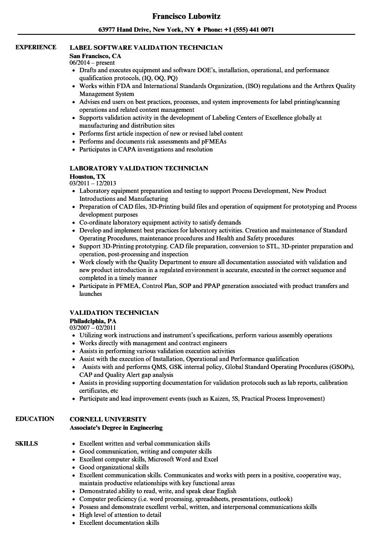 Validation Technician Resume Samples | Velvet Jobs