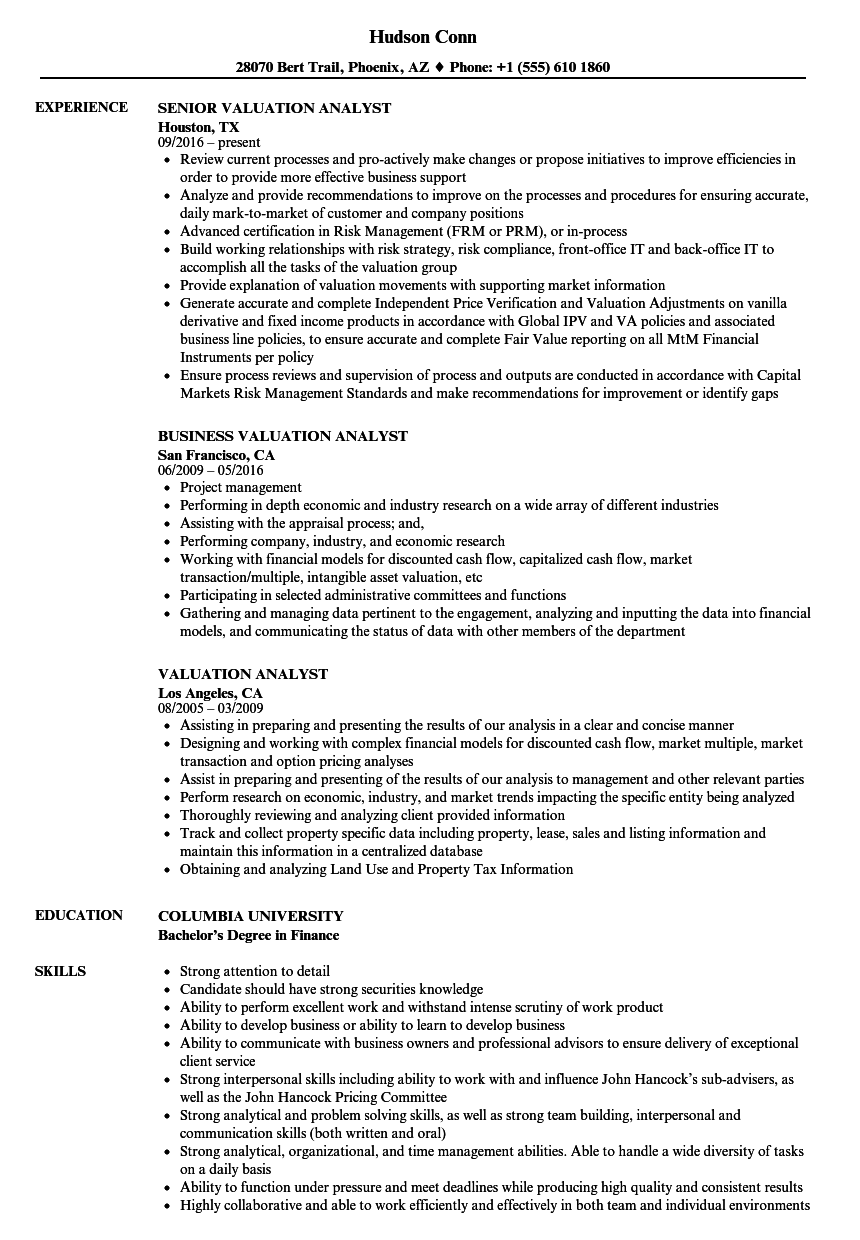 valuation resume