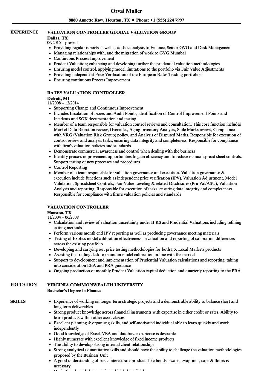 valuation controller resume samples