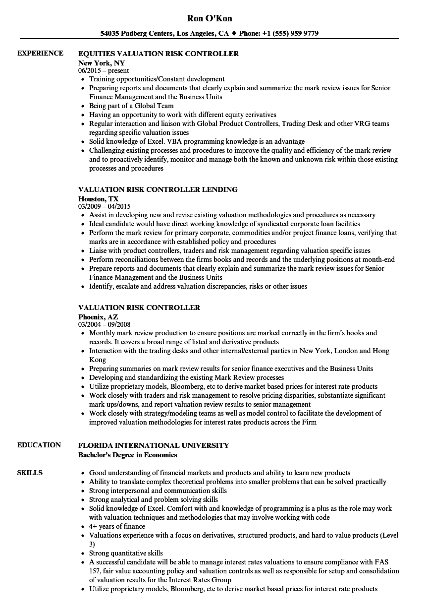 valuation risk controller resume samples velvet jobs