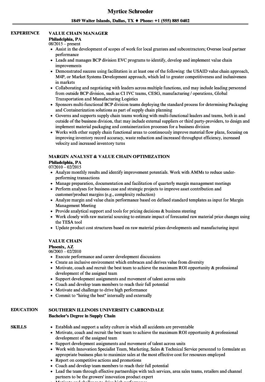 value chain resume samples
