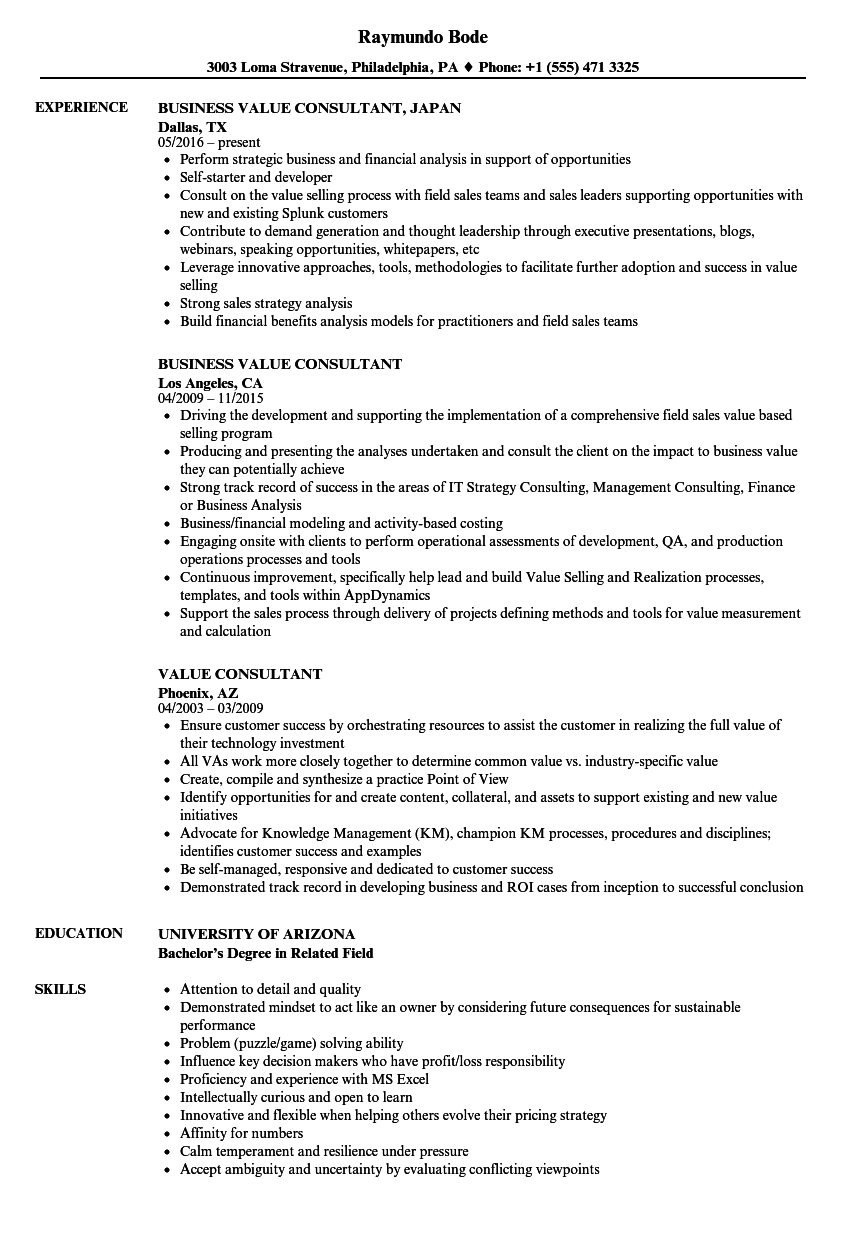 value consultant resume samples
