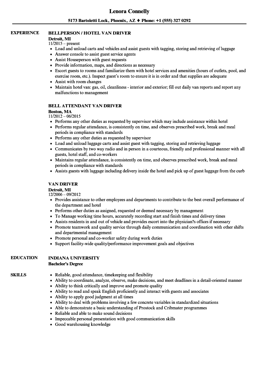 Van Driver Resume Samples | Velvet Jobs
