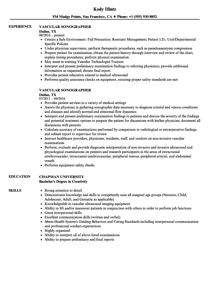 Download Vascular Sonographer Resume Sample As Image File  Sonographer Resume