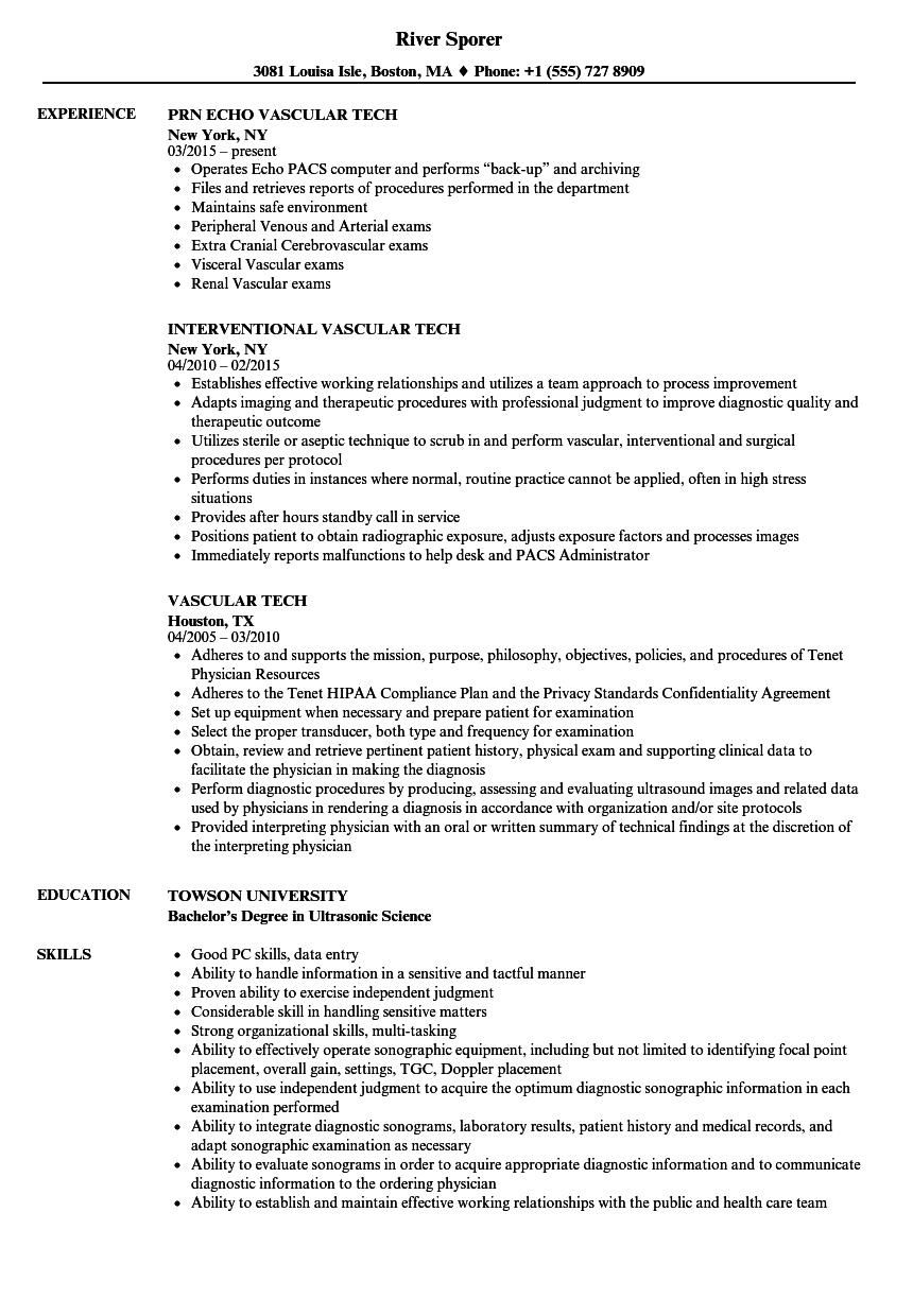 Download Vascular Tech Resume Sample As Image File