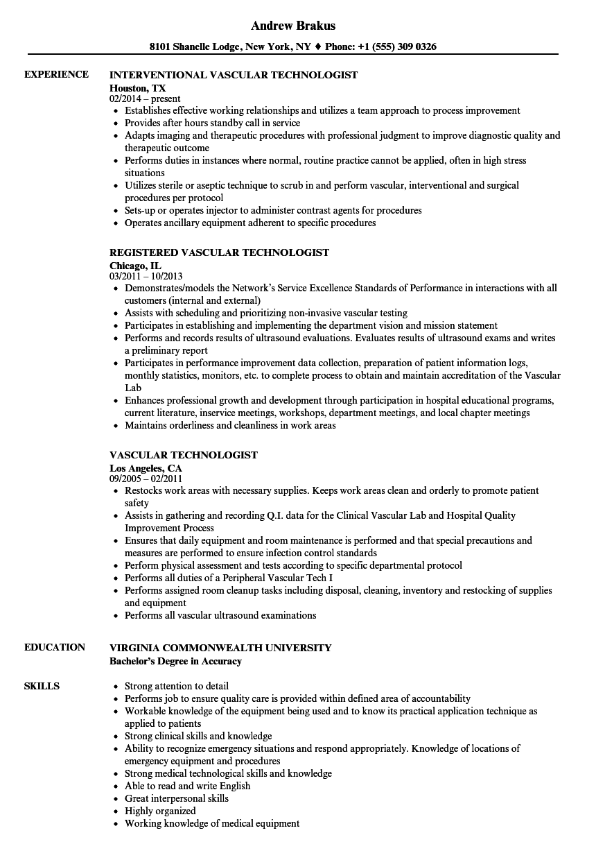 vascular technologist resume samples