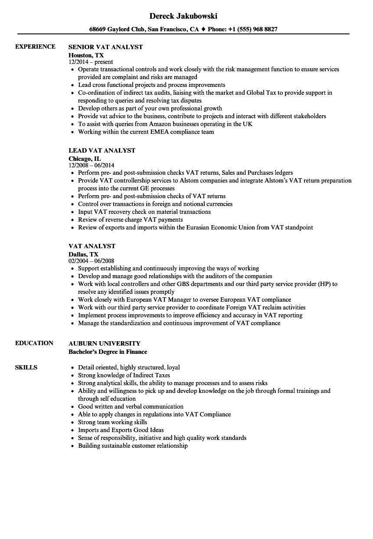download vat analyst resume sample as image file - Auburn University Resume Sample