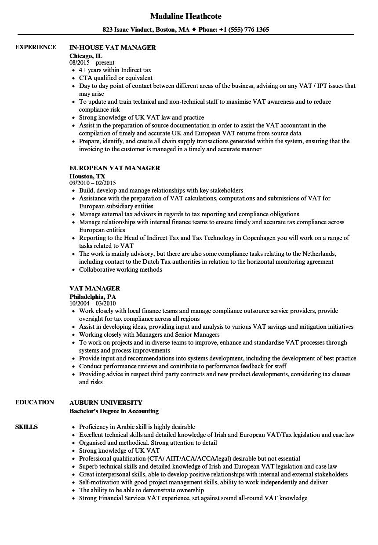 vat manager resume samples
