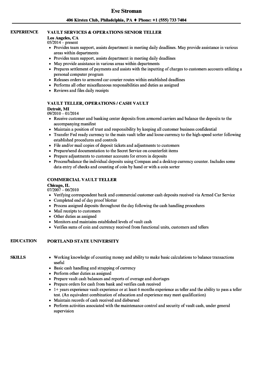 vault teller resume samples velvet jobs