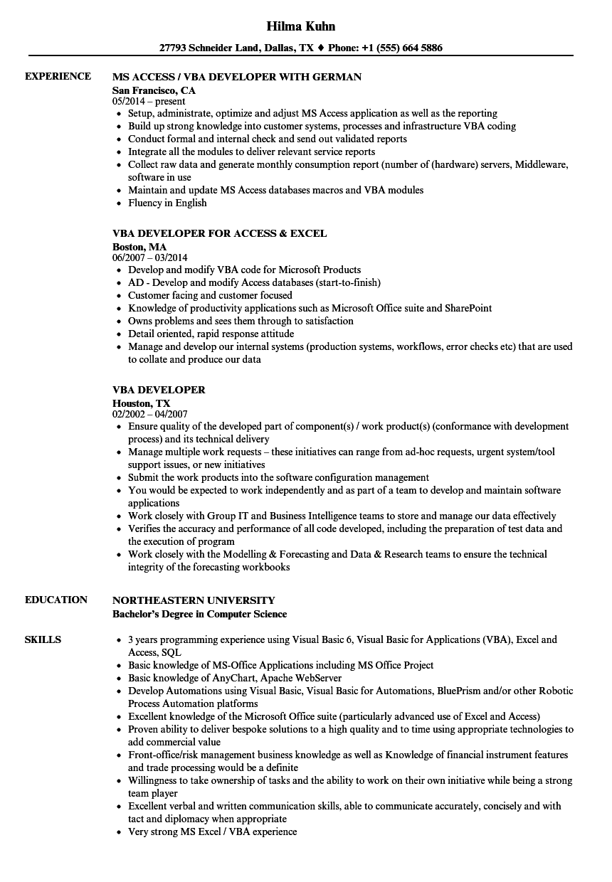 VBA Developer Resume Samples | Velvet Jobs