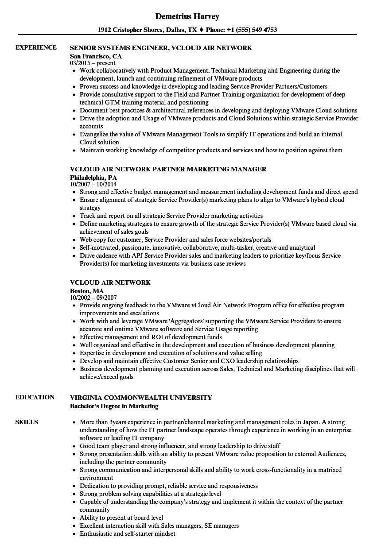 vcloud air network resume samples