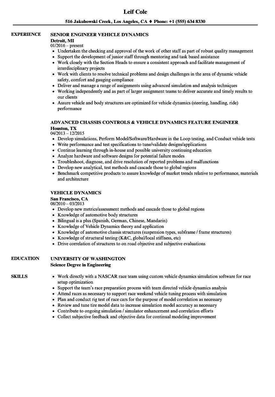 Vehicle Dynamics Resume Samples | Velvet Jobs