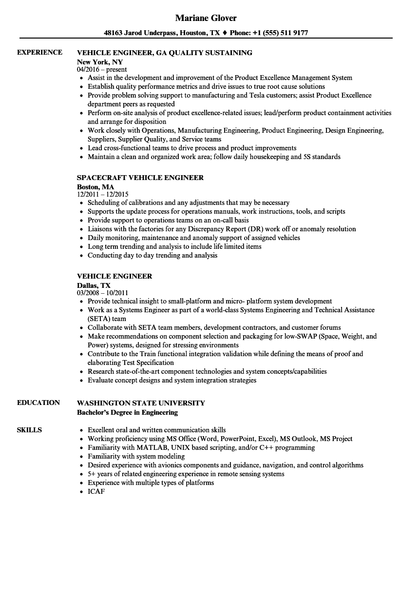 Vehicle Engineer Resume Samples | Velvet Jobs