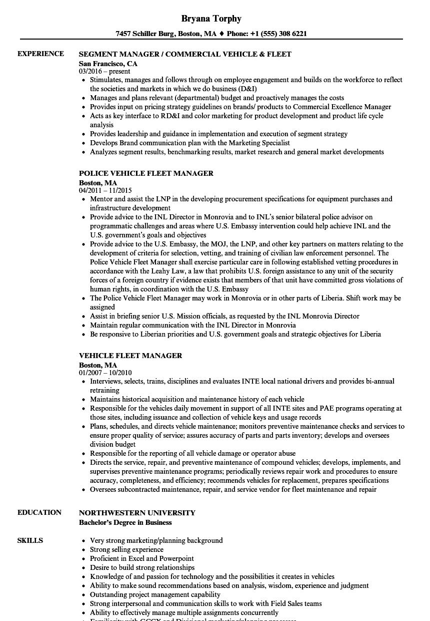 Fleet Management Resume