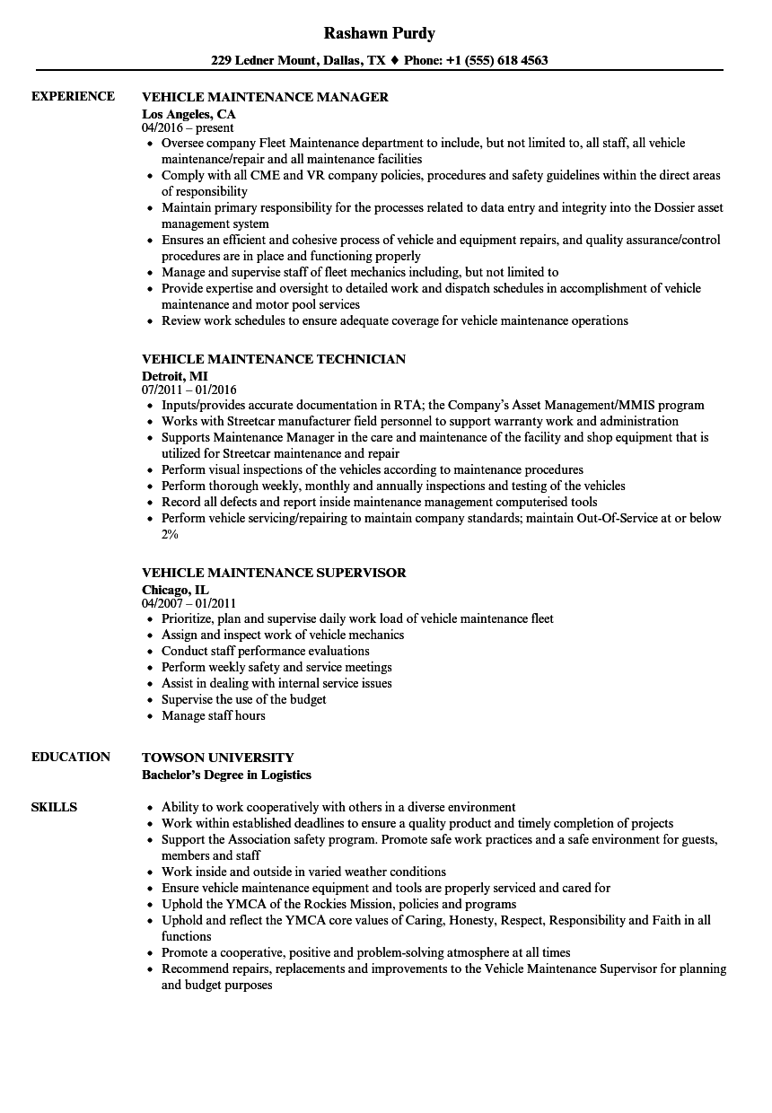 Download Vehicle Maintenance Resume Sample As Image File  Maintenance Resume Sample
