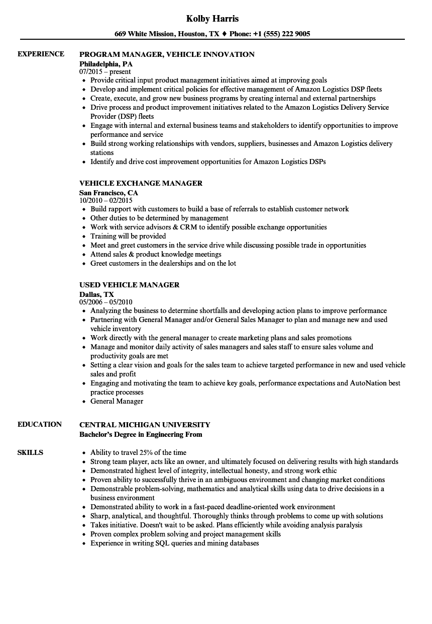 vehicle manager resume samples velvet jobs