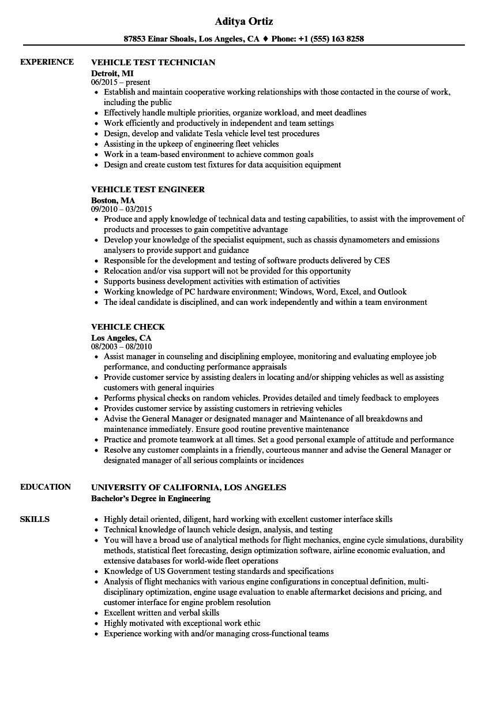 Vehicle engineer sample resume