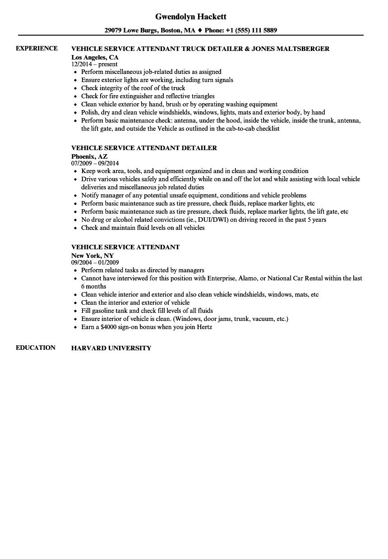 Vehicle Service Attendant Resume