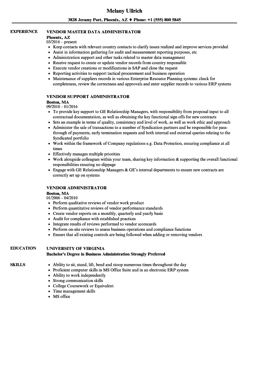 vendor administrator resume samples