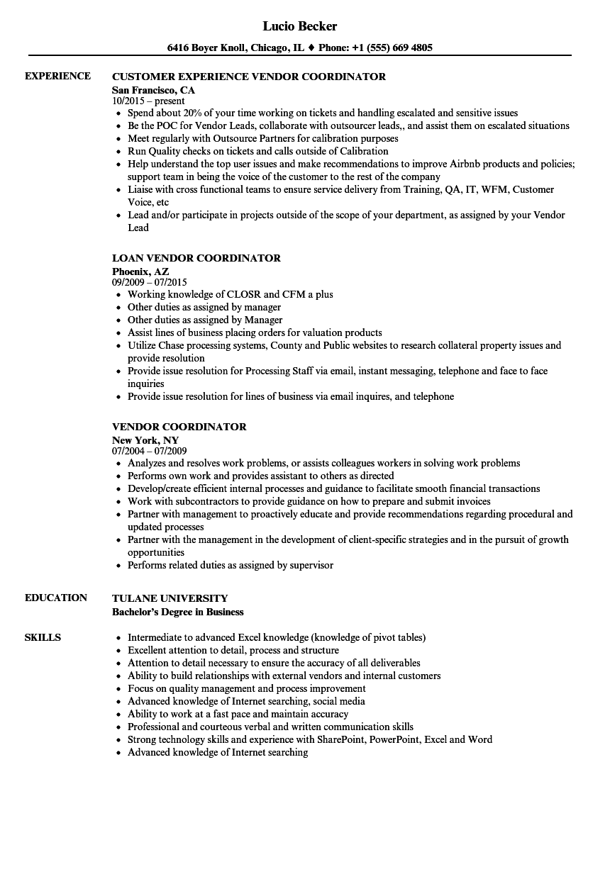 vendor coordinator resume samples