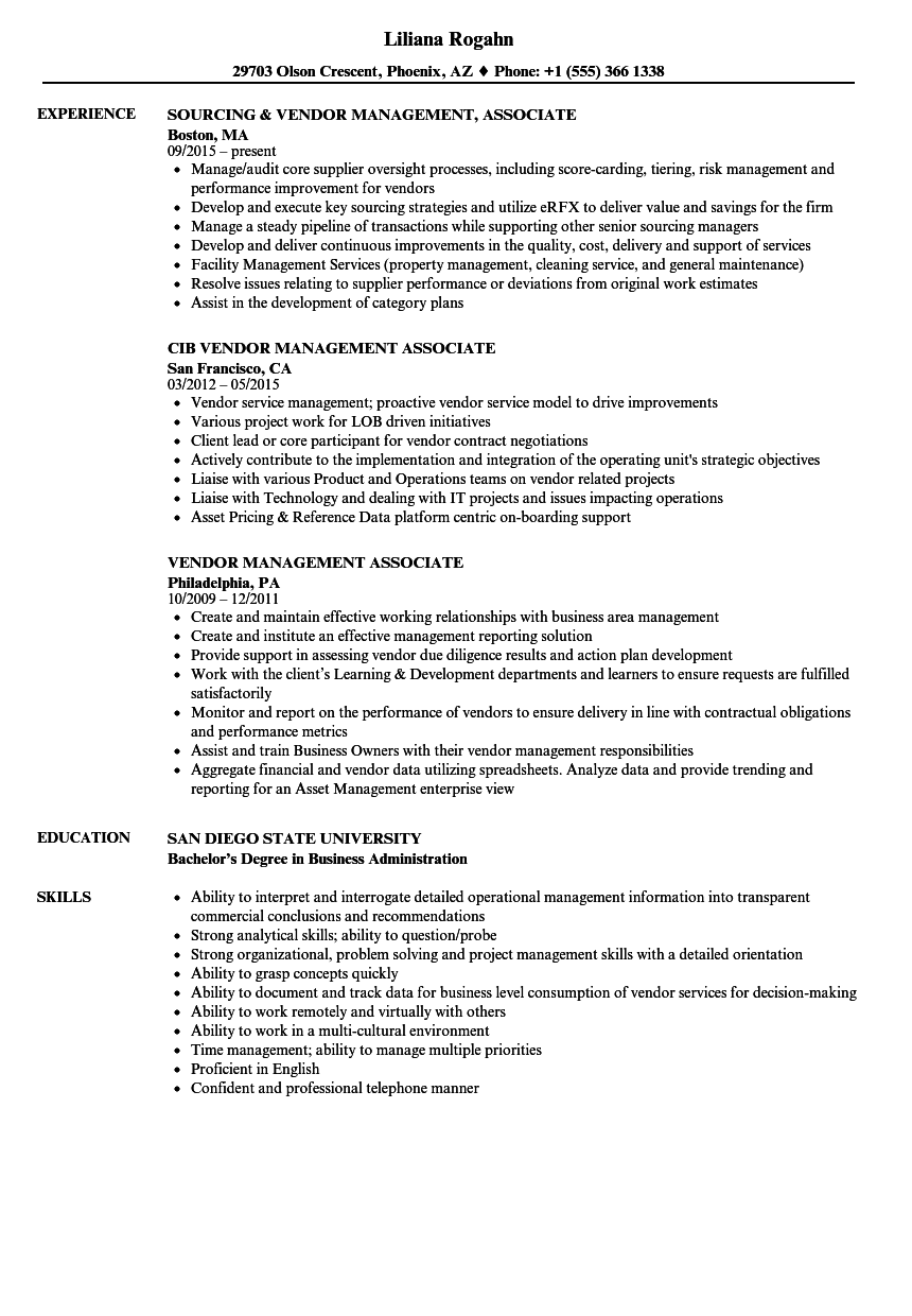 Vendor Management Associate Resume Samples   Velvet Jobs