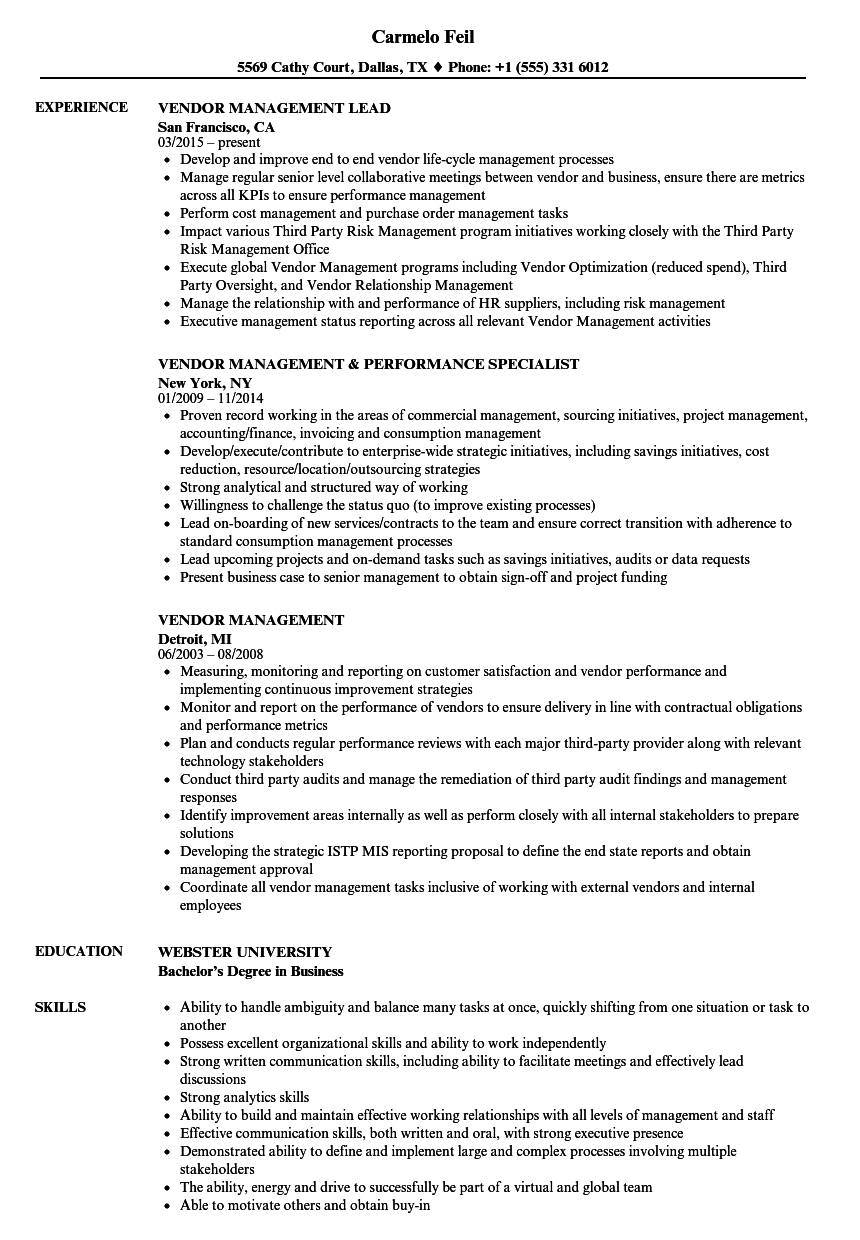 Vendor Management Resume Samples | Velvet Jobs