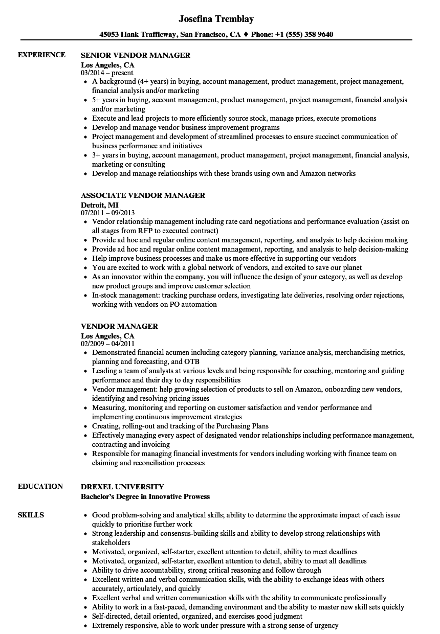 vendor manager resume samples