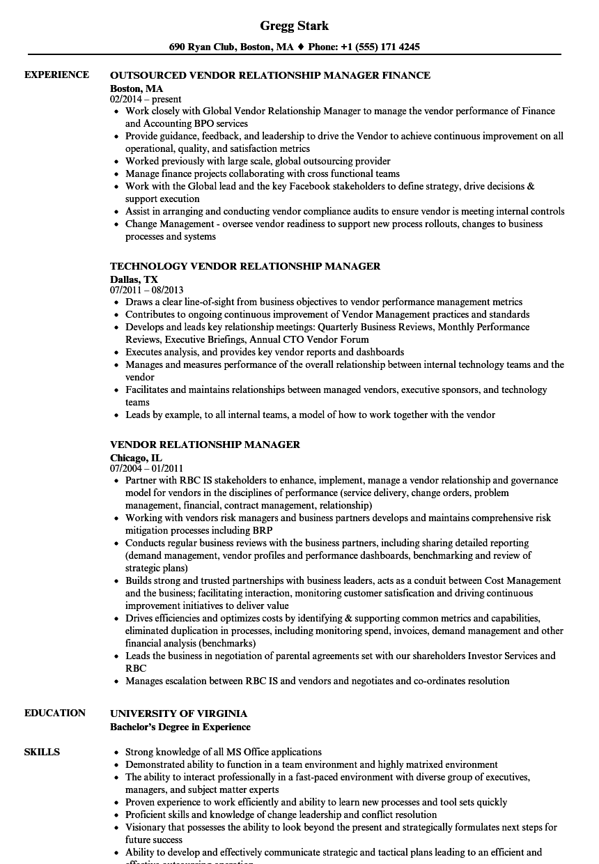 vendor relationship manager resume samples