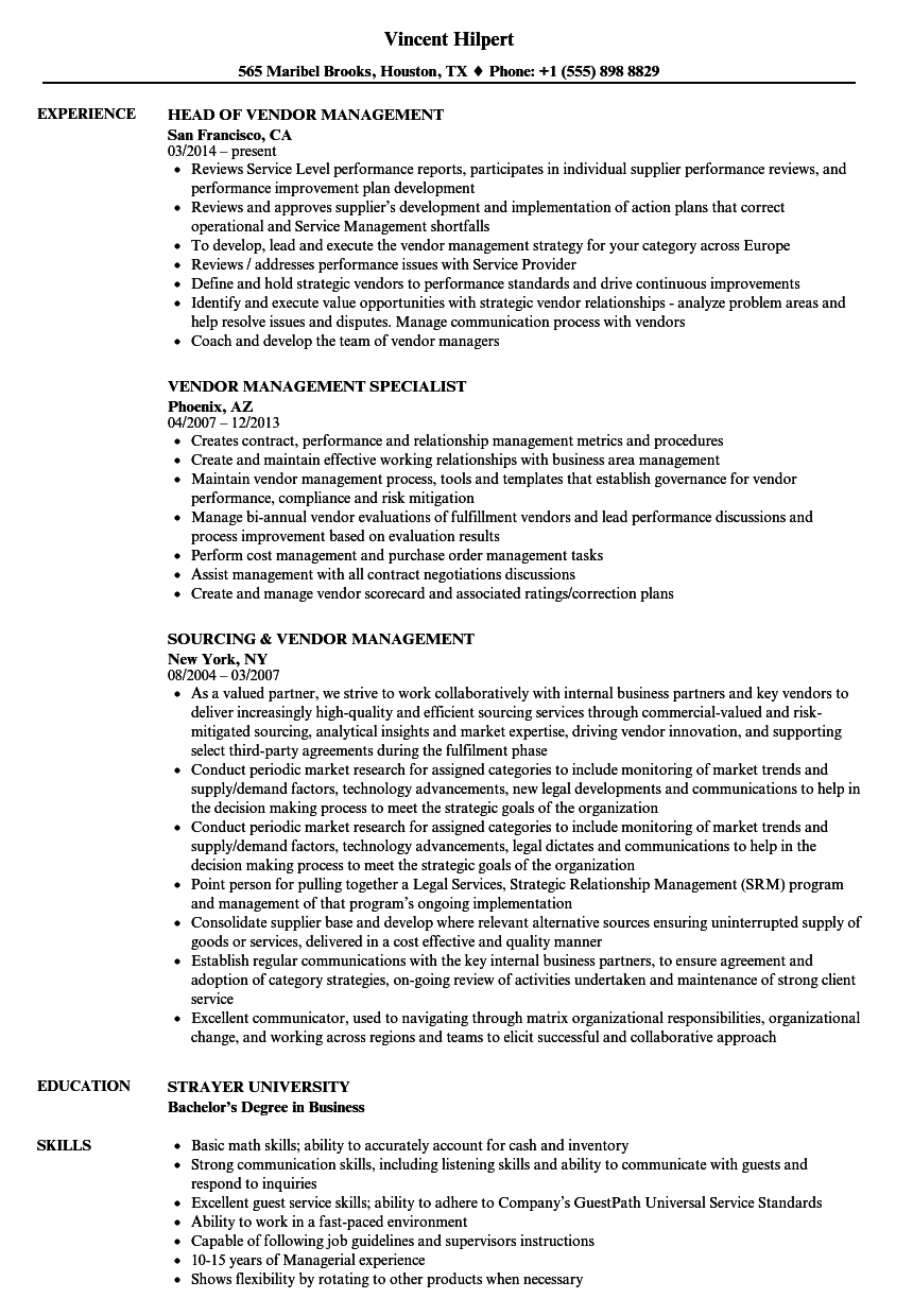 Vendor Resume Samples Velvet Jobs