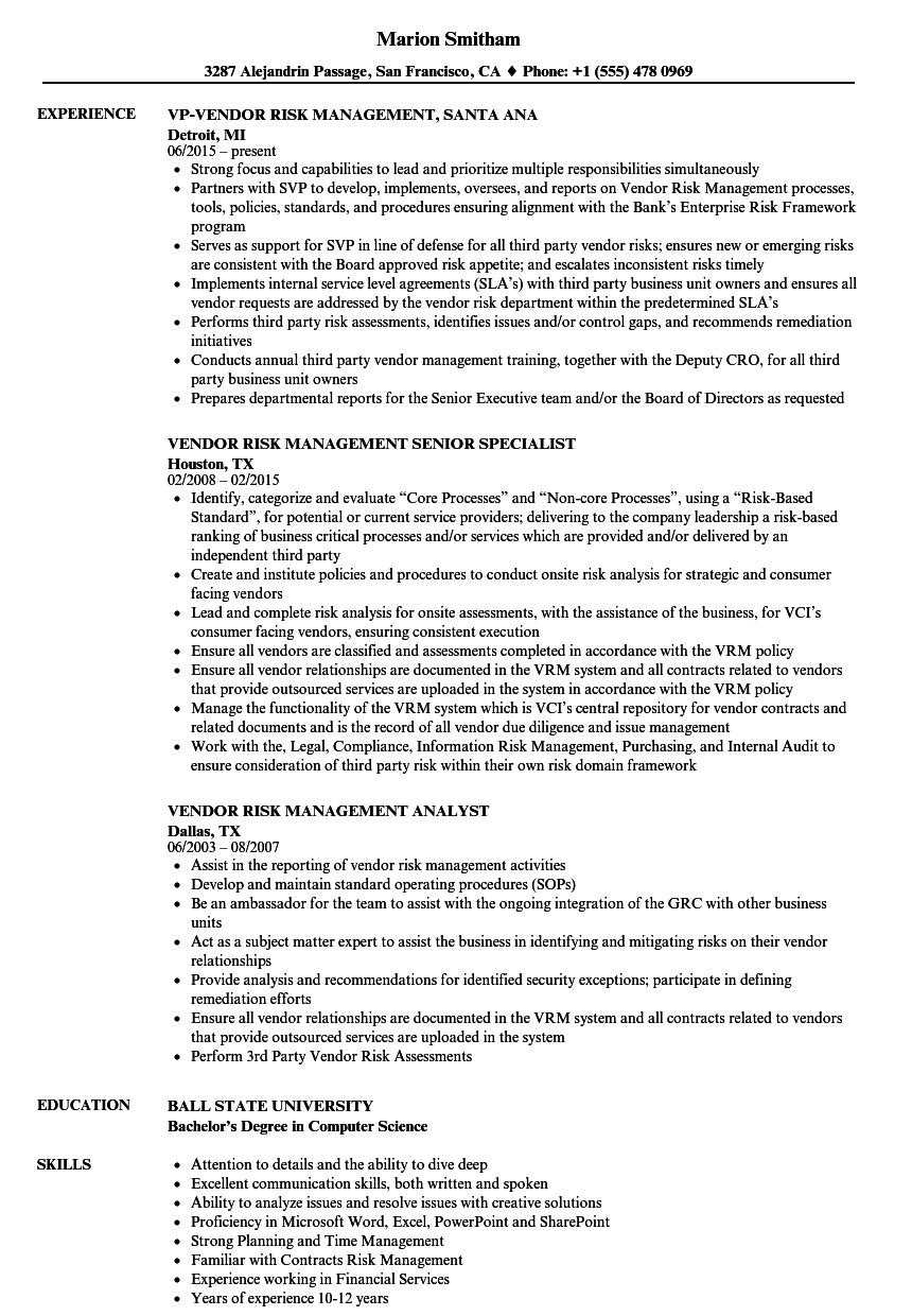vendor risk management resume samples