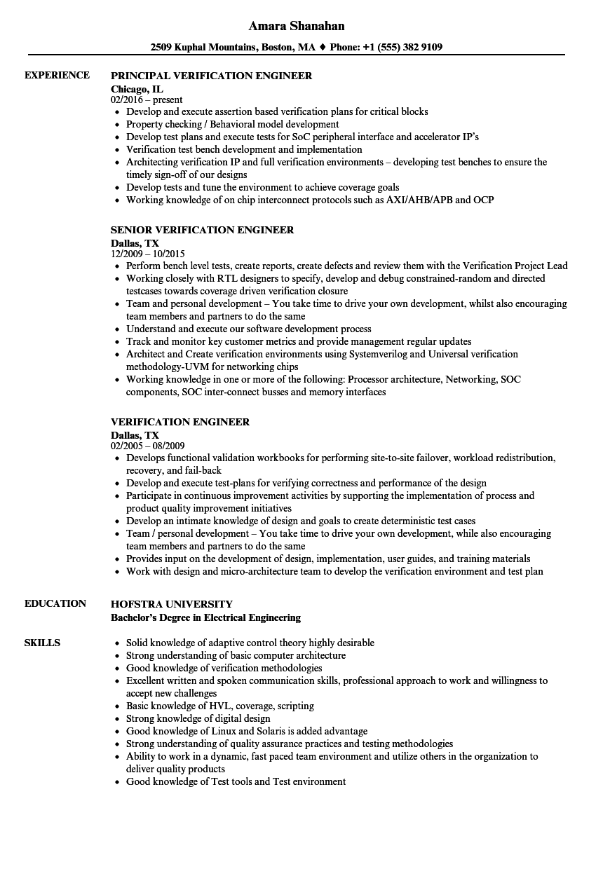 Verification Engineer Resume Samples | Velvet Jobs