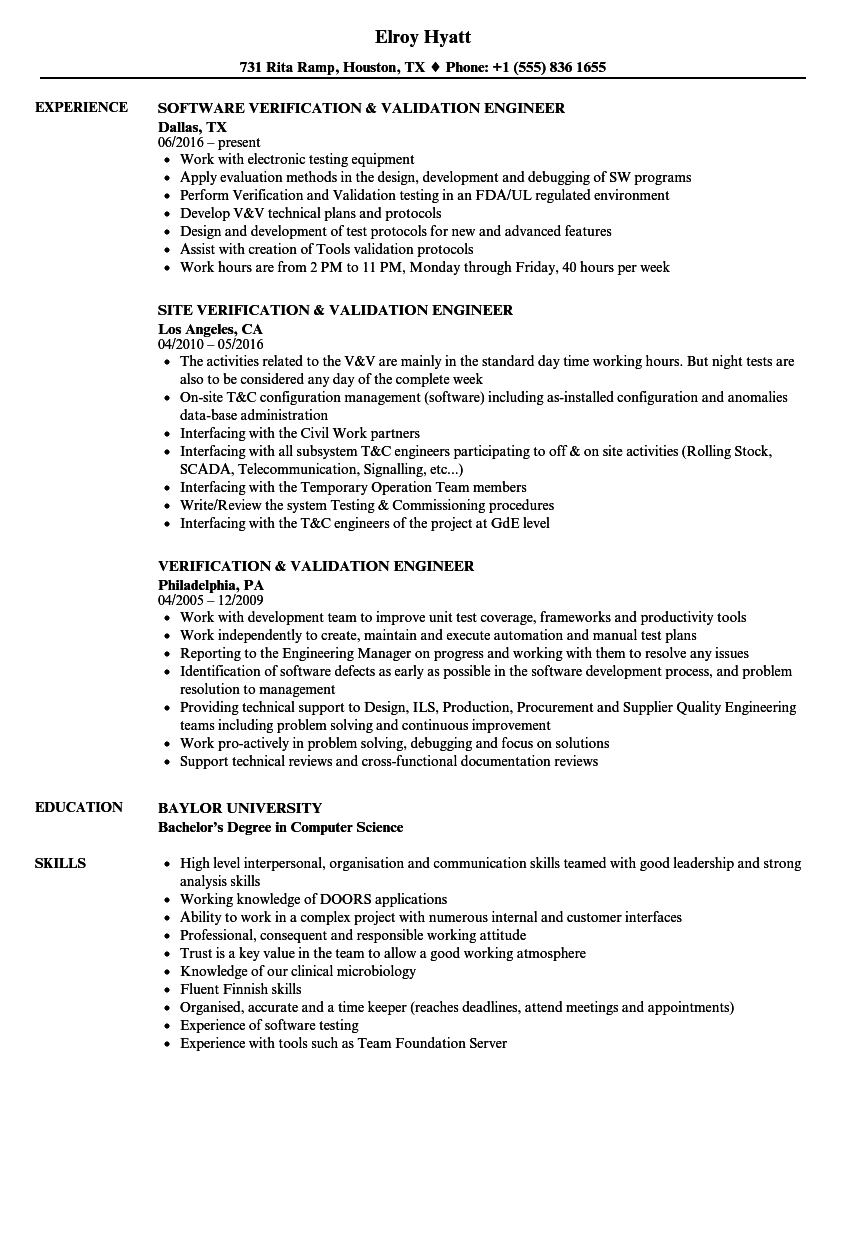 verification  u0026 validation engineer resume samples