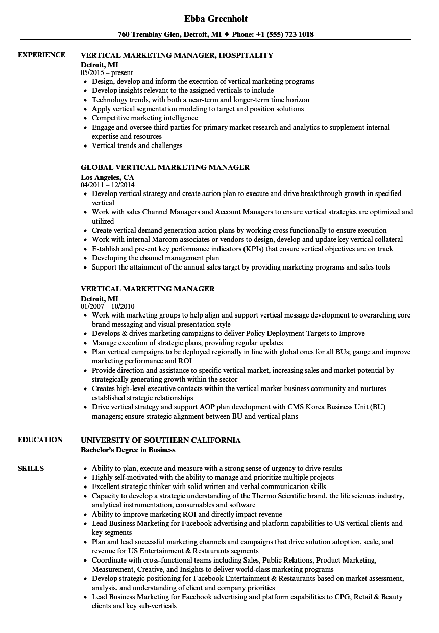 vertical marketing manager resume samples