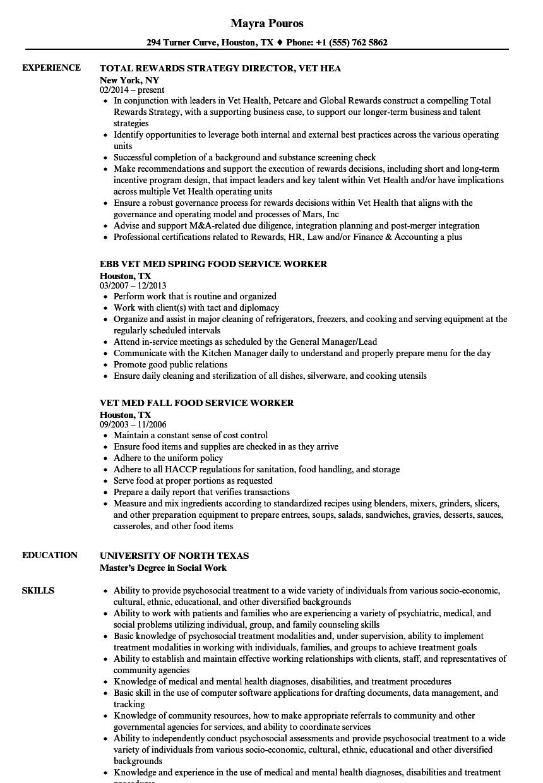 vet resume samples