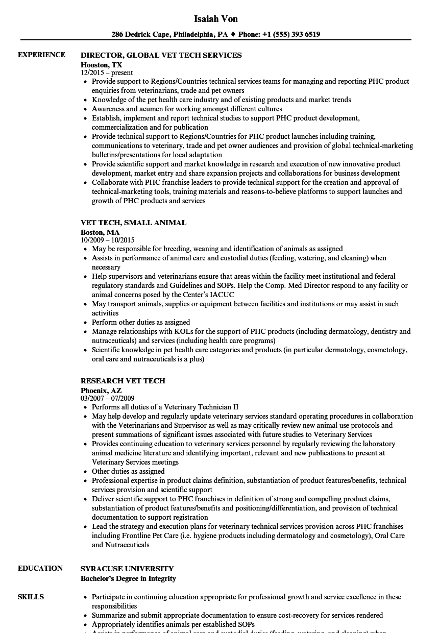 Download Vet Tech Resume Sample As Image File