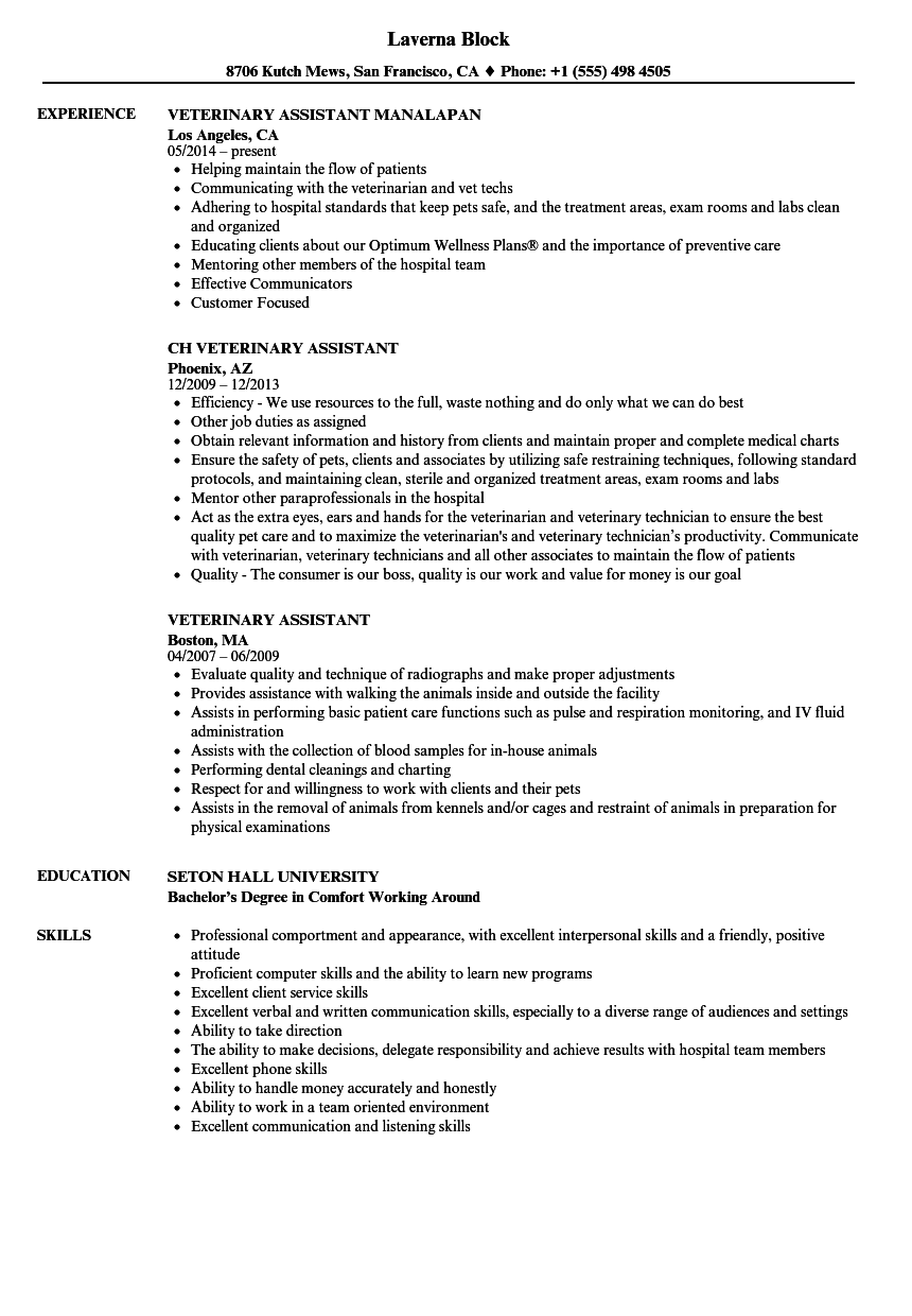 Veterinary Assistant Resume Examples Veterinary Assistant Resume Samples  Velvet Jobs