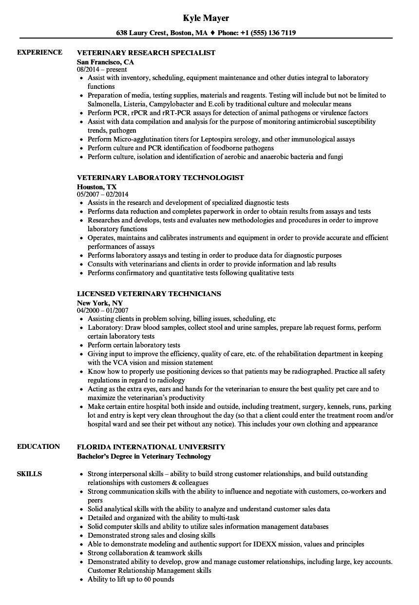 Veterinary Resume Samples Velvet Jobs
