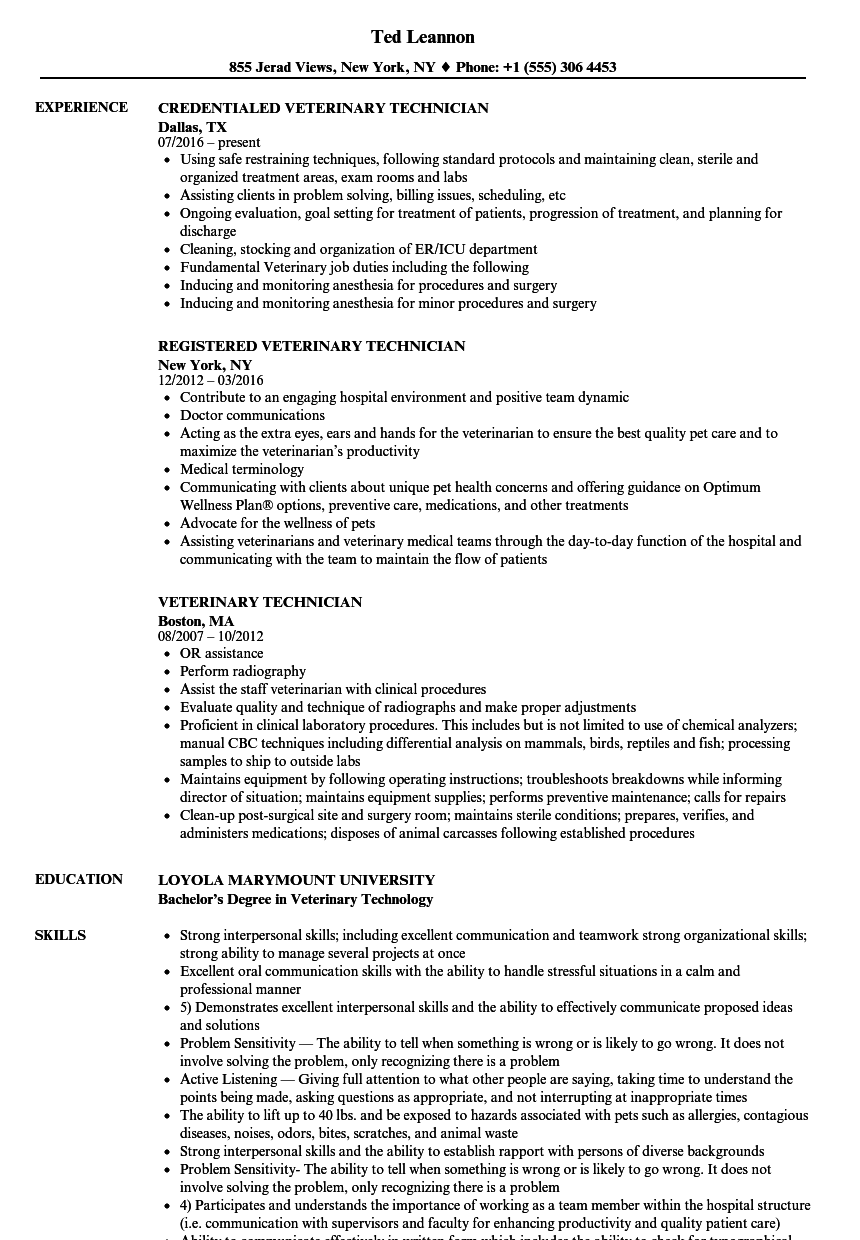 Download Veterinary Technician Resume Sample As Image File