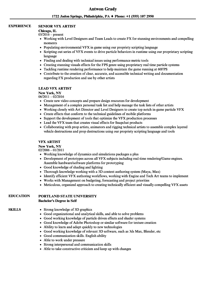 Vfx Artist Resume Samples Velvet Jobs