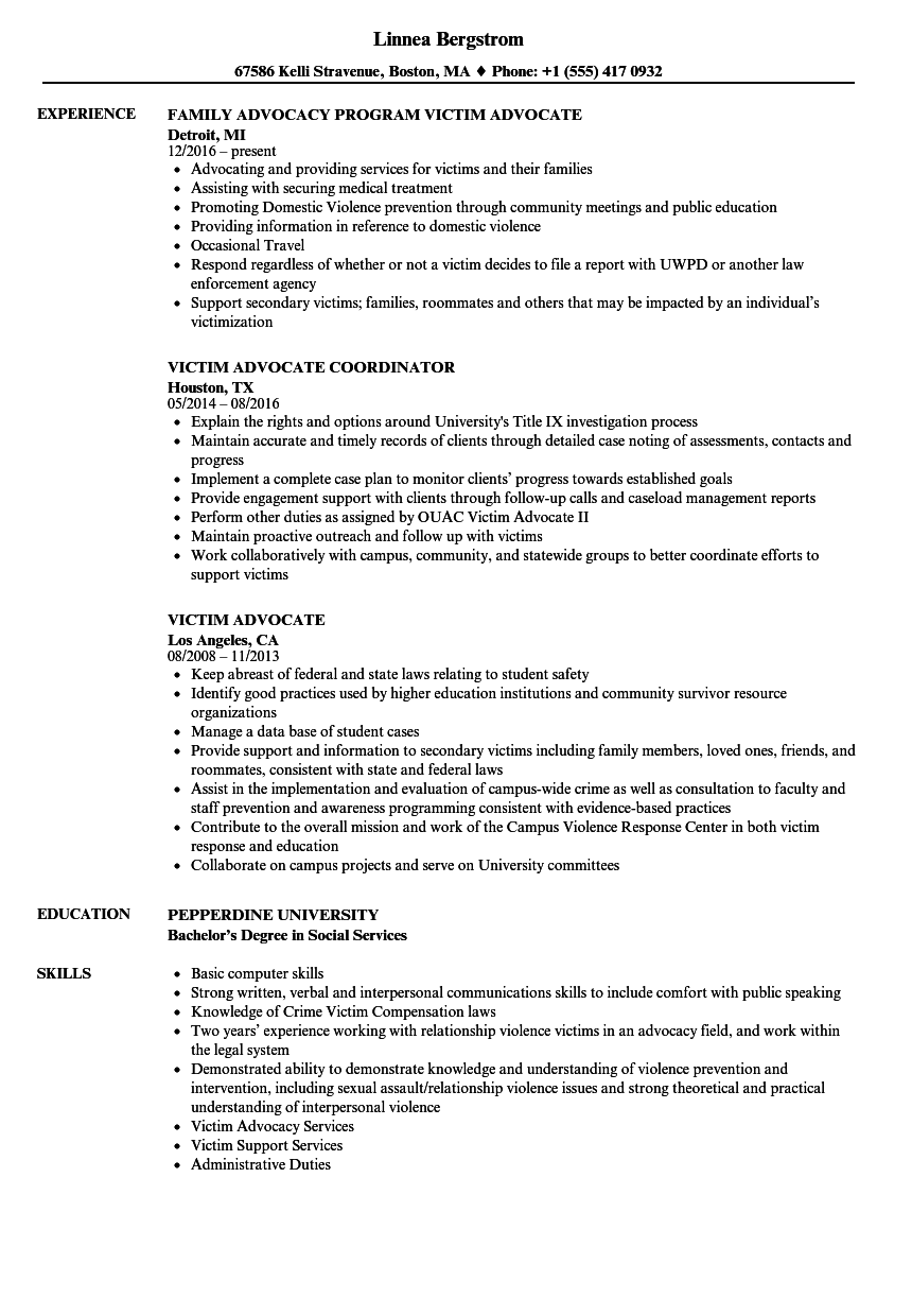 Victim Advocate Resume