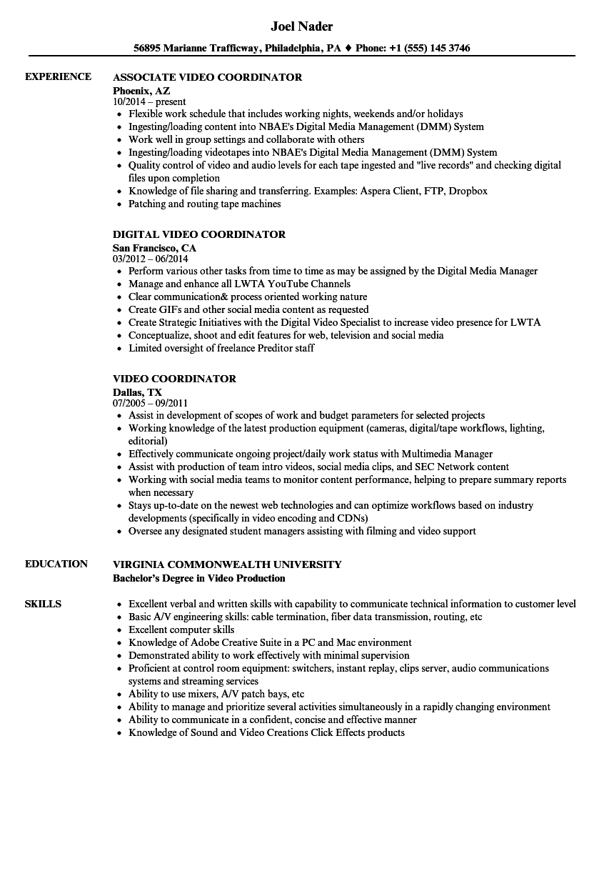 Video Coordinator Resume Samples Velvet Jobs