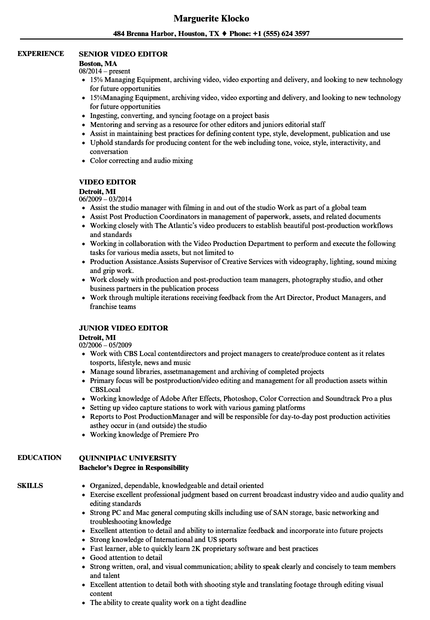 Velvet Jobs  Video Editor Resume Sample