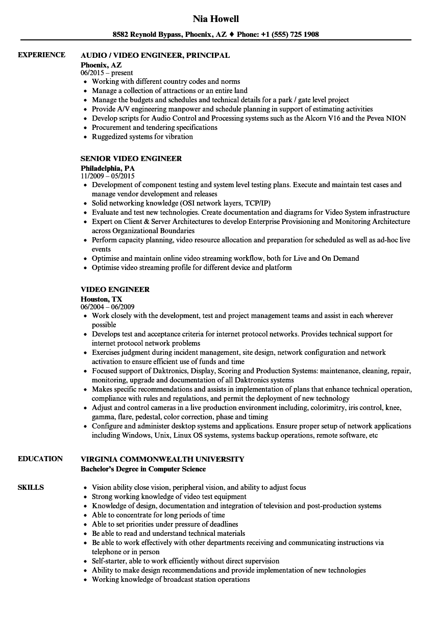 Video Engineer Resume Samples Velvet Jobs