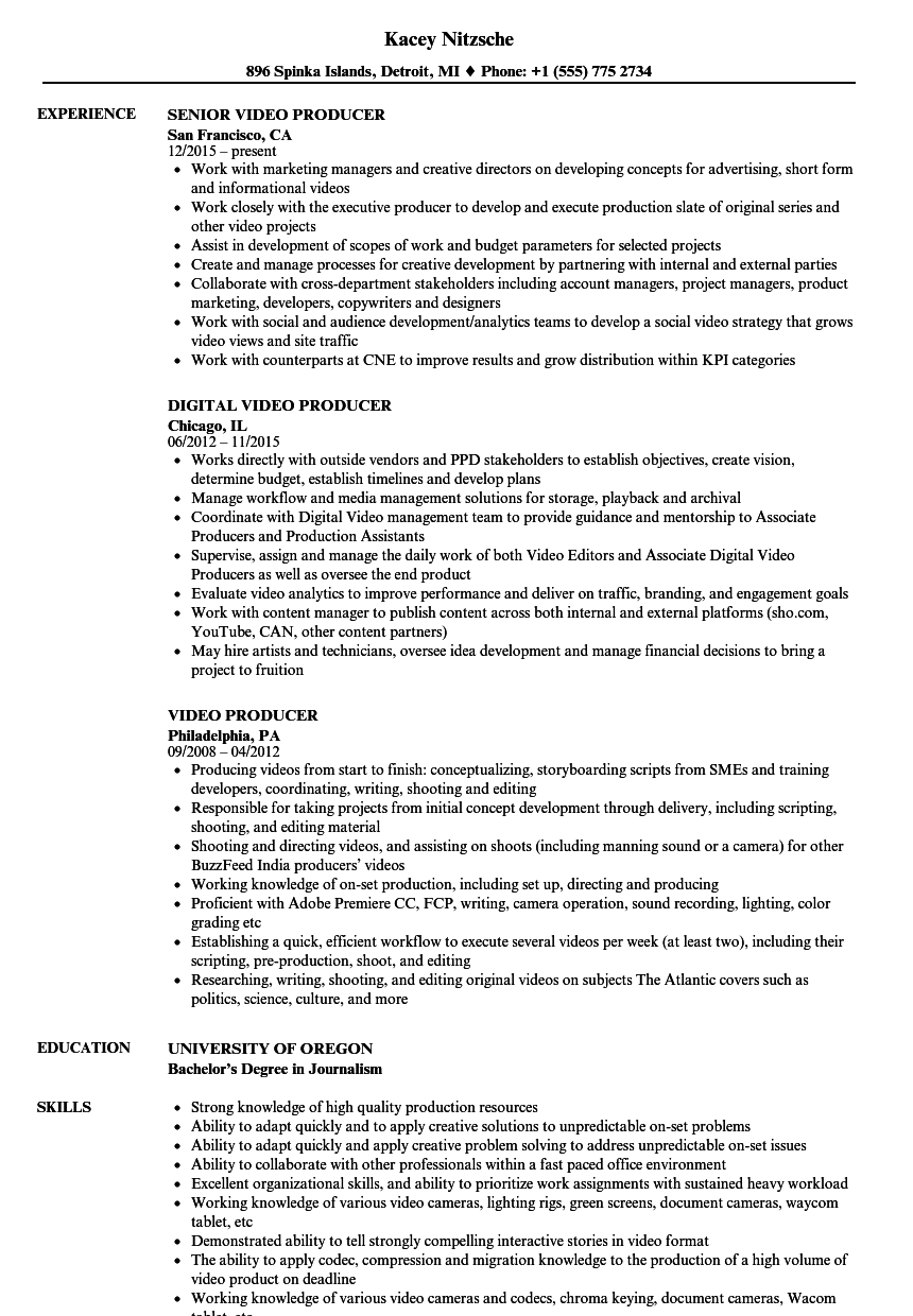 Video Producer Resume Samples Velvet Jobs