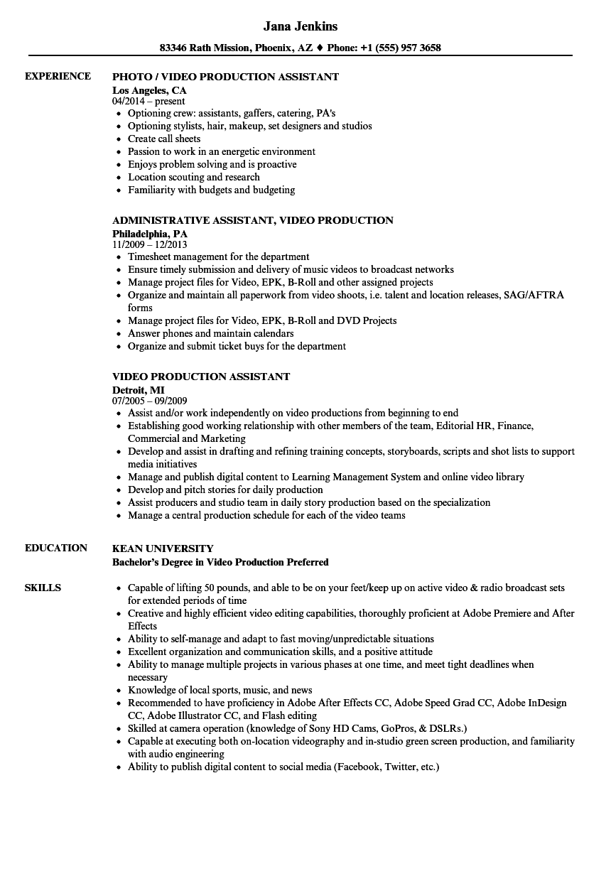 Video Production Assistant Resume Samples Velvet Jobs